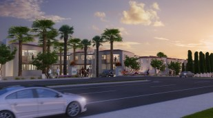 This rendering shows the project as viewed from Del Obispo Street. Renderings provided courtesy of Capital Hall Partners.