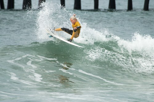 Hagan Johnson of Shorecliffs Middle School was the Boys Shortboard division winner at the Feb. 21 SSS contest in Oceanside. The Shorecliffs team also came out on top. Photo: Sheri Crummer