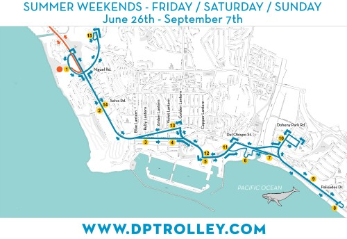 Dana Point PCH Trolley map courtesy of the city of Dana Point