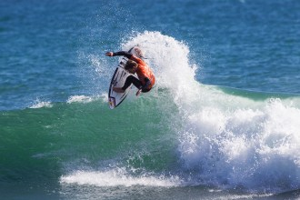 Kolohe Andino of San Clemente won his Round 1 heat at the Oakley Lowers Pro on April 29, posting a 9.00 (out of 10) point ride to advance into Round 2. Photo: © WSL / Rowland