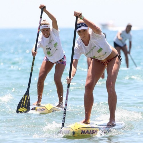Candice Appleby of San Clemente took double wins at the first event of the Stand Up World Series, June 26-28 in Barcelona, Spain. Photo: Waterman League