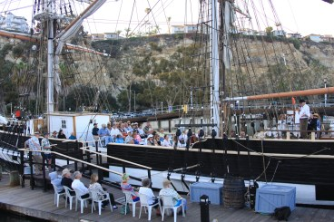 The Dana Point Historical Society's R.H. Dana 200th birthday celebration event was well attended. On-deck seating was sold out and a crowd gathered around dockside for the event. Photo: Andrea Swayne.