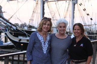 Barbara Johannes, DPHS president; Liz Bamattre, DPHS member and event chairwoman; and Tracy Kirby of the Ocean Institute worked closely together to plan the Aug. 1 R.H. Dana bicentennial celebration aboard the brig Pilgrim. Photo: Andrea Swayne