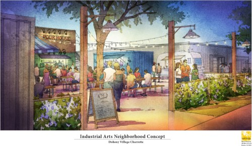 An industrial arts neighborhood concept is one of many plans made during the four-day design charrette for the Doheny Village Plan. Rendering: Courtesy of the city of Dana Point