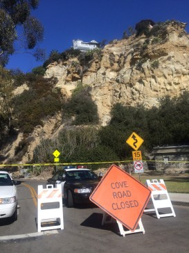 Cove Road was closed Tuesday morning due to a rockslide. Photo: Andrea Swayne