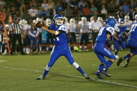 Dana Hills sophomore quarterback Corey Cisowski, left, passed for 1,209 yards this season for the Dolphins football team. Photo: Gibby/Zone57