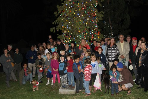 A crowd of about 75 people gathered Monday to reinstate the old Capo Beach tradition of lighting the official community tree on the Camino de Estrella median at Camino Capistrano. Photo: Andrea Swayne