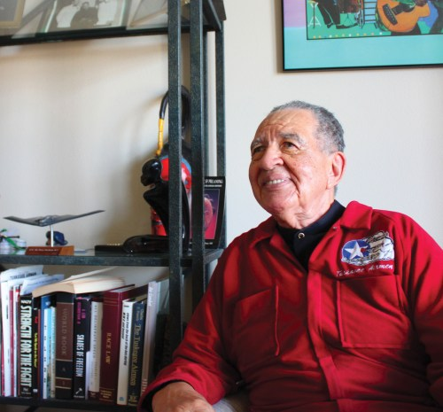 WWII Tuskegee Airman and longtime Dana Point resident passed away on Feb. 14 in Rancho Mirage. Higginbotham proudly donned his red Tuskegee Airman jumpsuit for a 2010 interview with the Dana Point Times for a cover story written about him. Photo: Christina Scannapiego
