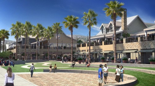 This rendering shows a concept drawing of commercial core improvements planned as part of the county's Dana Point Harbor Revitalization Plan. Image: Courtesy of the County of Orange
