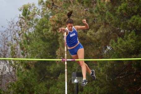 Dana Hills senior Claire Kao set a new school record in the pole vault by clearing the 12-foot-6-inch mark at the South County Classic track and field meet on March 12. Photo: Steve Brouwer