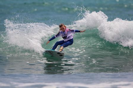 Bella Kenworthy (Dana Point) was among six local surfers who claimed WSA West Coast Champion titles. Kenworthy won the Micro Grom Girls U10 division. Photo: WSA/Jack McDaniel