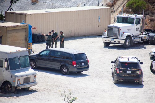 Deputies were seen responding to a call at a storage yard in San Juan Capistrano Tuesday afternoon. Photo: Alex Paris