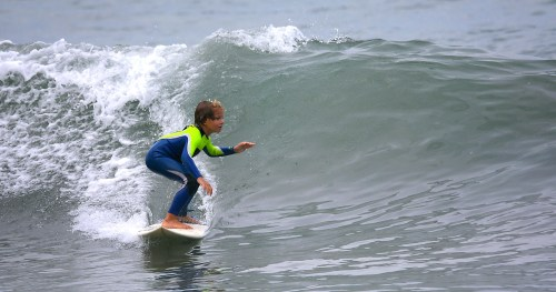 Nolan Senn, 8, surfs during the Photo: Courtesy of AJ McClintick