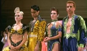 Dancewear! What to wear to ballroom dance class? Tina Sparkles (far left) from Baz Luhrmann's <em>Strictly Ballroom</em>