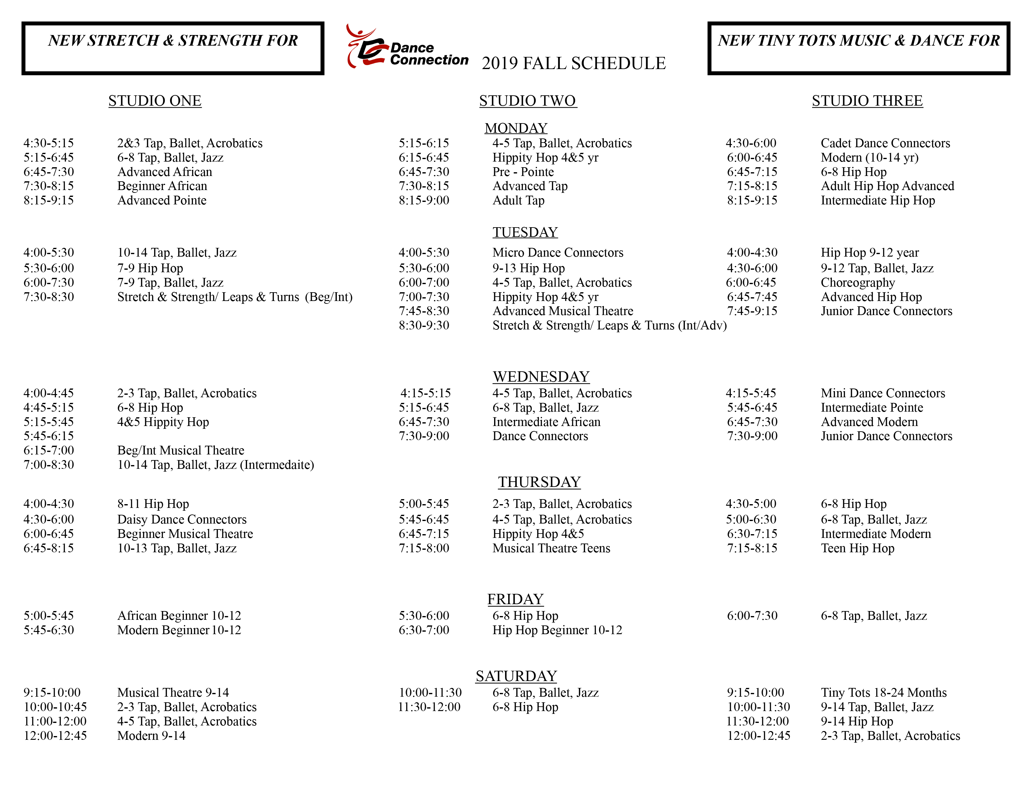 schedules dance connection rochester
