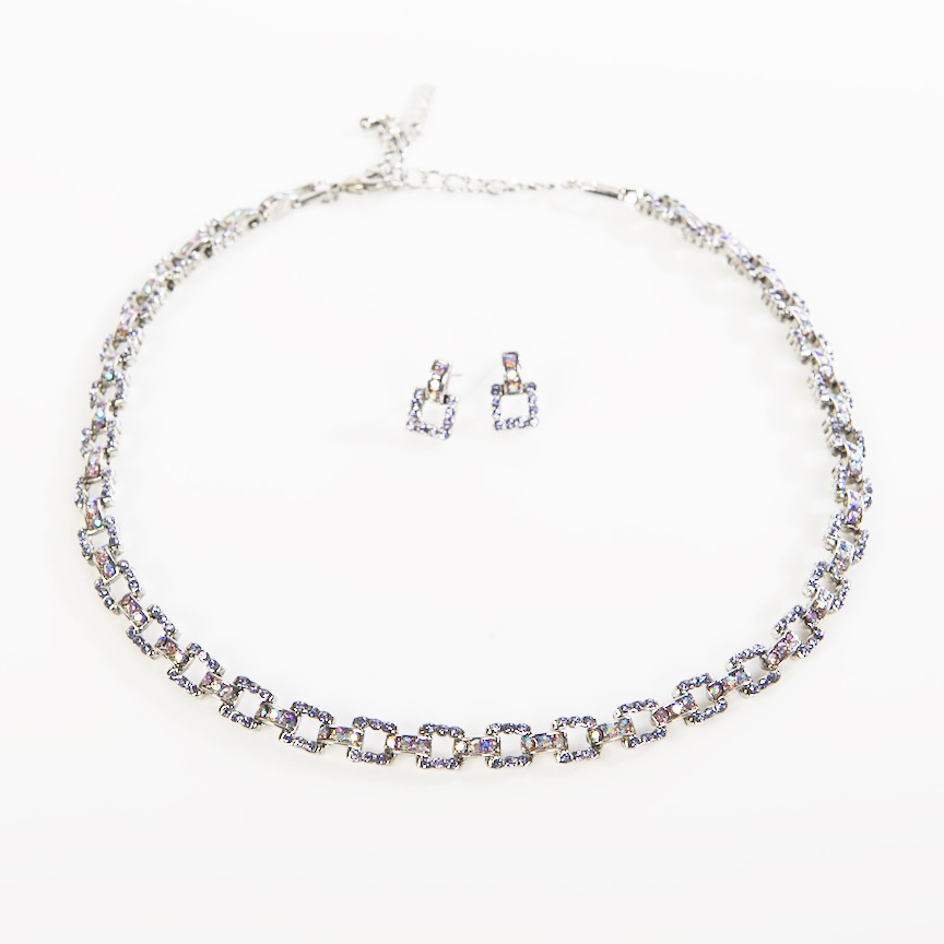 Swarovski Crystal Square Linked Necklace And Earring With