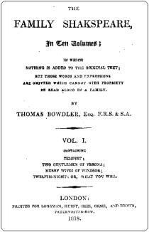 Bowdler Family Shakespeare 1818