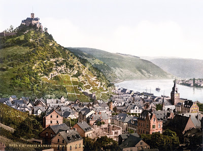 View towards the Marksburg, Rhineland-Palatinate. c.1890-1895
