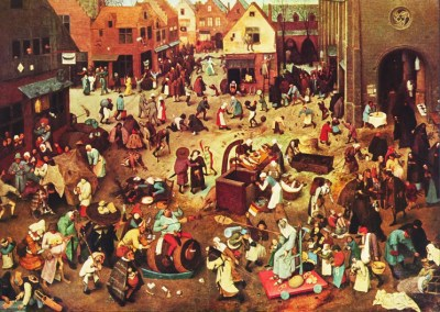 Shrove Tuesday (the last day before Lent) was the most popular day for football matches in medieval and early modern England. Here, in The Fight Between Carnival and Lent (1559), Pieter Breughel the Elder portrays a Dutch celebration of Shrovetide.
