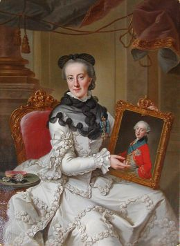 The Queen-Dowager showing the portrait of her only son hereditary prince Frederick