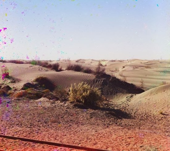 Railroad tracks through desert dunes, Central Asia (Produkin-Gorskii Collection/LOC)