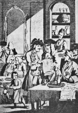'Coffee-house politicians', c.1700: coffee-houses were an ideal place to discuss the news with friends and strangers alike