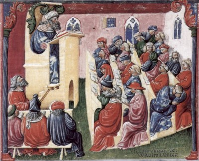 Students in the 2nd half of the 14th century, by Laurentius de Voltolin