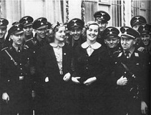 Diana and Unity surrounded by SS officers at the 1937 Nuremberg Rally