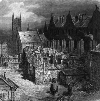 Devil's Acre, Westminster: a typical London slum with its crowded courts