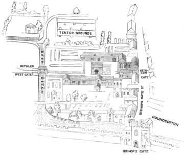Plan of the medieval Bethlem hospital