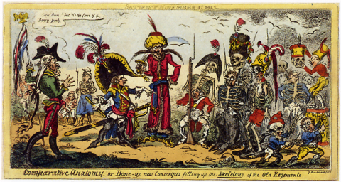 omparative Anatomy or Bone-ys new Conscripts filling up the Skeletons of the Old Regiments 1813