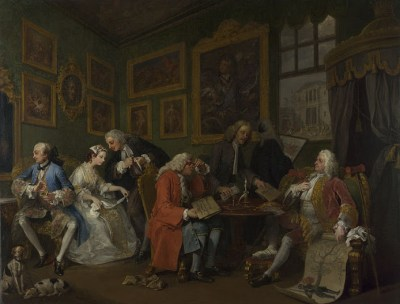 William Hogarth mocked mercenary marriages in his series Marriage à la Mode. Here, in the first painting, a marriage is arranged between the bankrupt son of Earl Squanderfield and the daughter of a wealthy merchant.