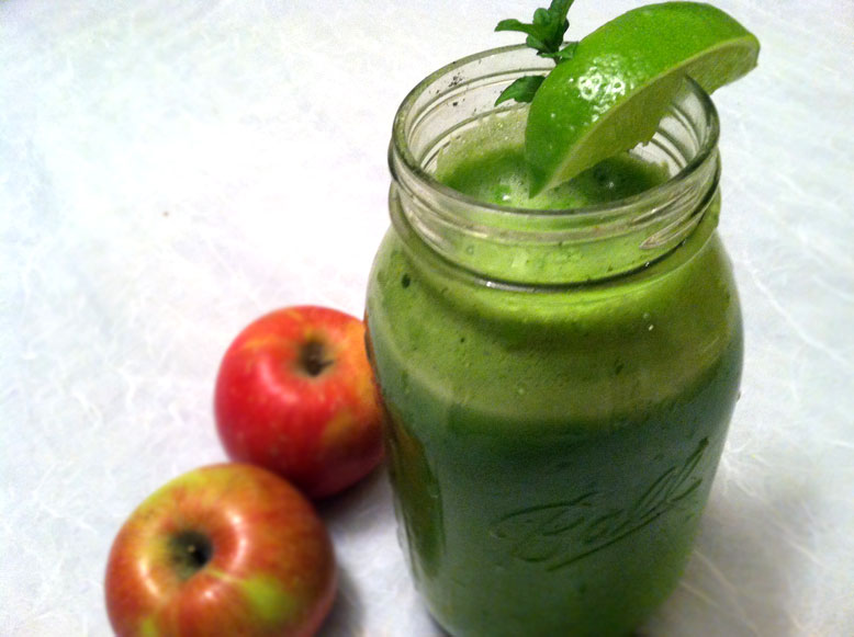 lime apple juice with mint