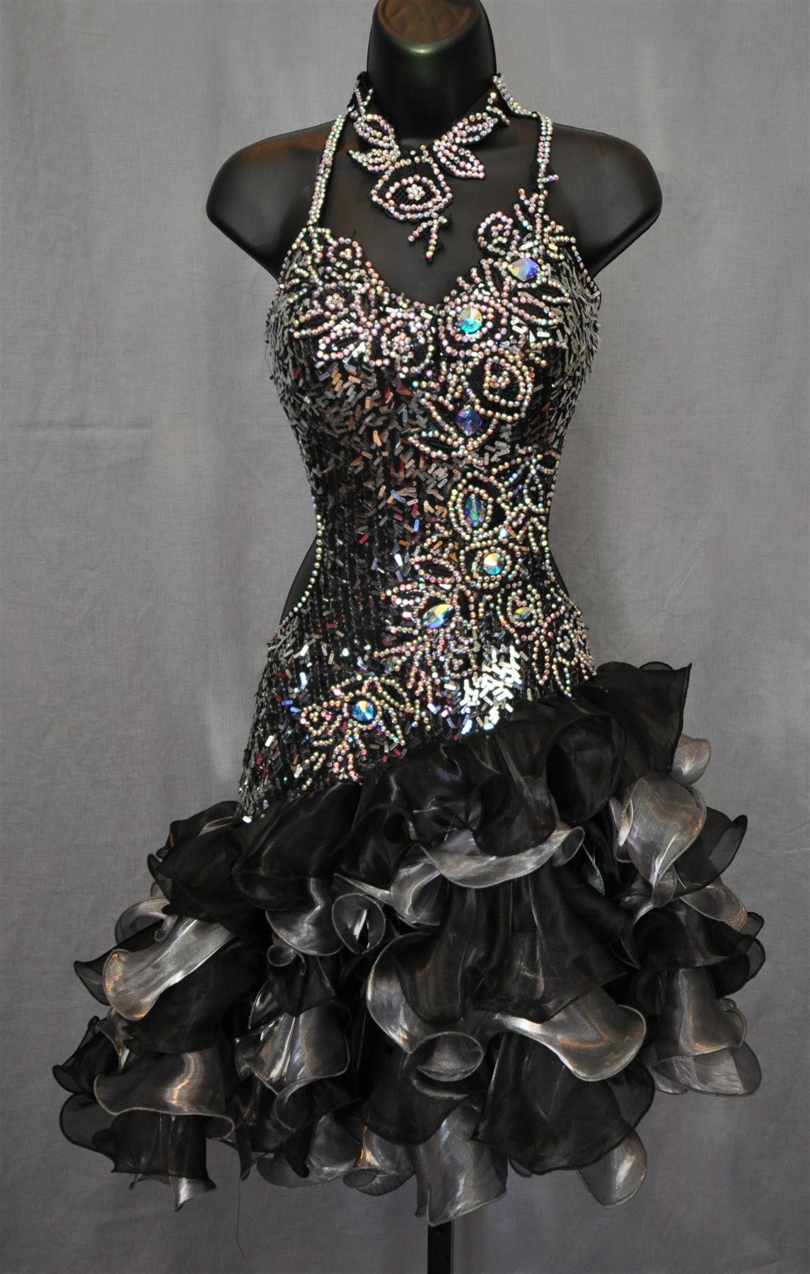 Sexy  Fun Ruffle Skirt Sequin Latin Dress