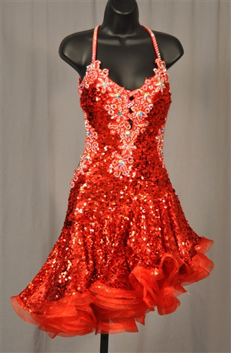 Sexy Red Sequin Latin Dress