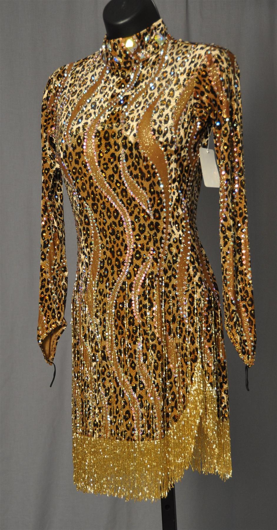 Sexy Gold Leopard Beads Latin Dress