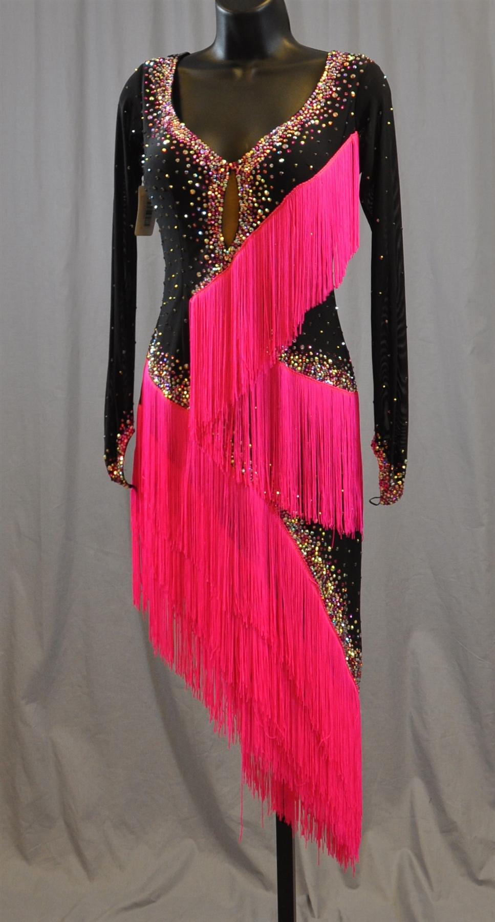 Fun Black Amp Pink Fringe Latin Dress