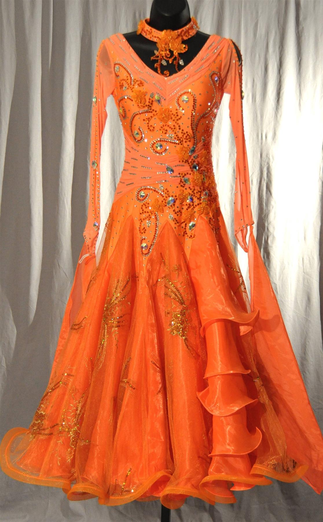 Elegant Orange Mesh Sleeves Ballroom Dress