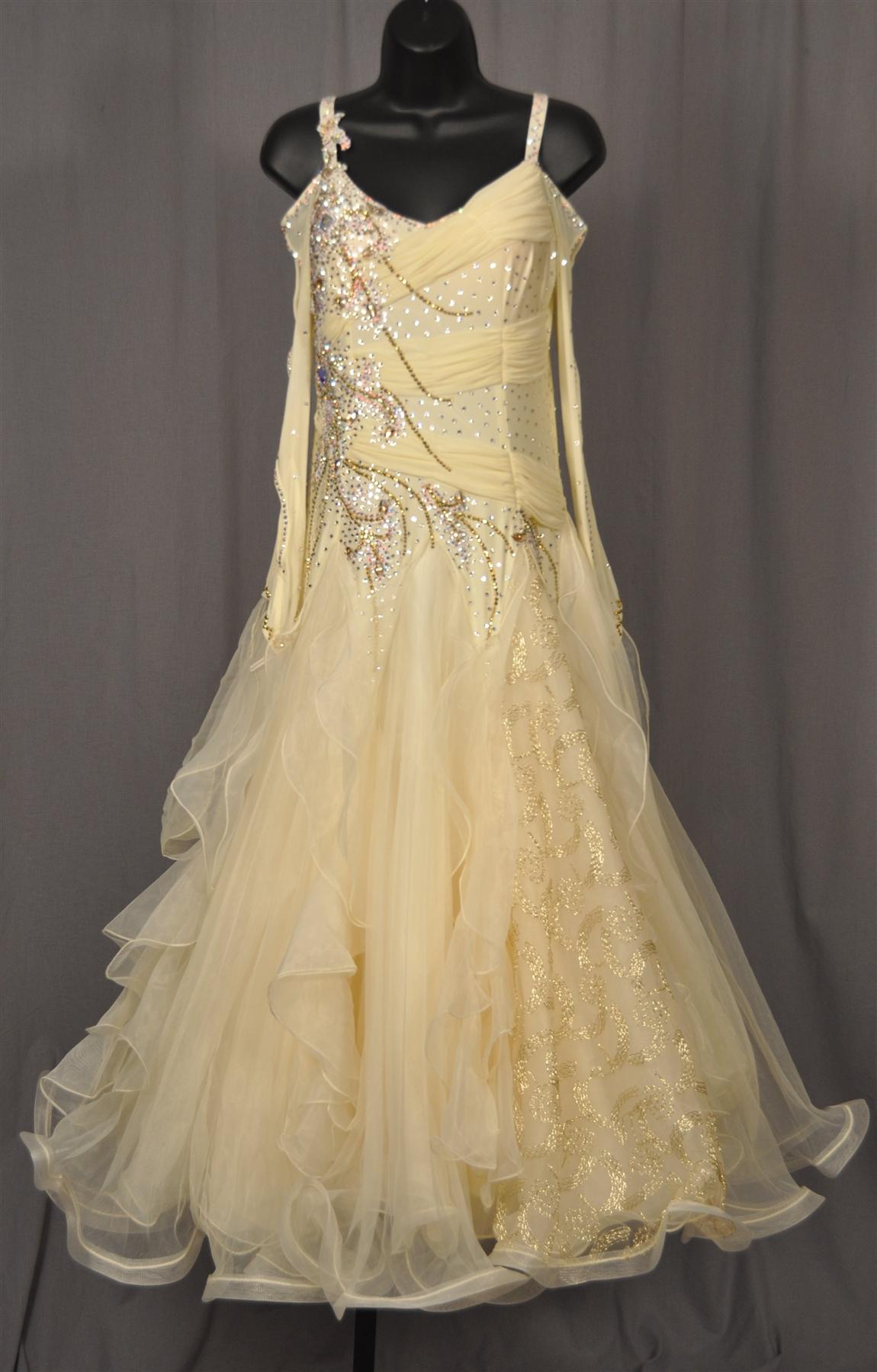 Elegant Long Key Hole Mesh Sleeves Peach Gold Ballroom Dress