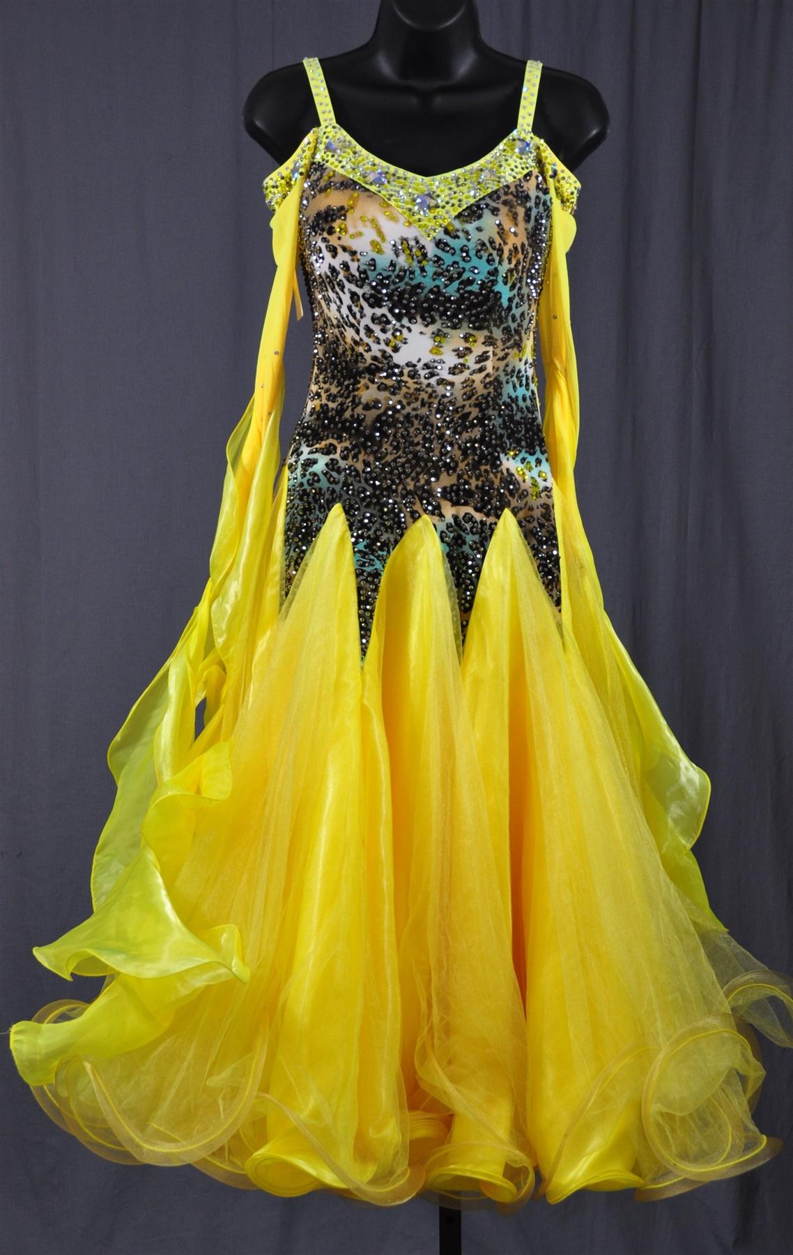 Elegant Yellow Leopard Ballroom Dress
