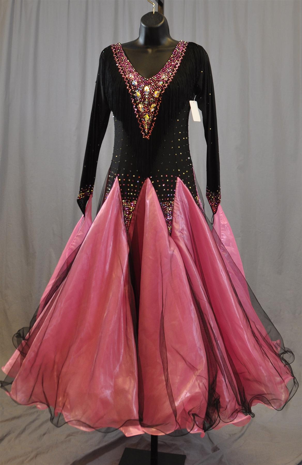 Elegant Black and Pink Long Sleeves Fringe Ballroom Dress