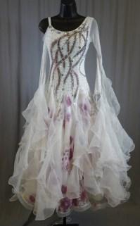 Elegant White Purple Flower Ballroom Dress