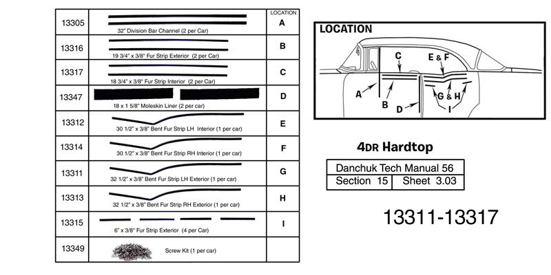 Danchuk 1956-1957 Chevy 32-1/2'' Bent Fur Strip, 4-Door