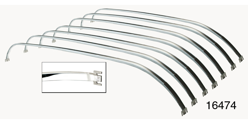 1955-1957 Chevy Headliner Stainless Bows, Nomad, Set of 7