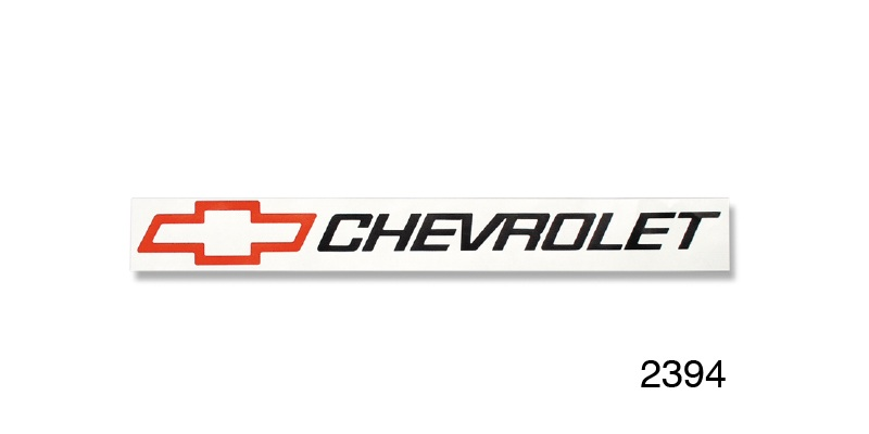 Chevrolet Decal, 2'' x 16'', Black Chevrolet w/ Red Bowtie