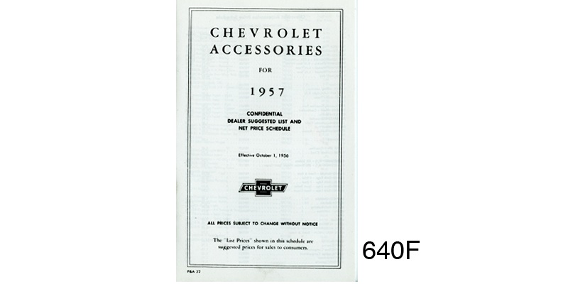 1957 Chevy Dealers Accessory Price List