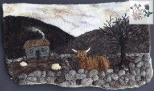 Felted picture using nature rare breed sheep fleeces