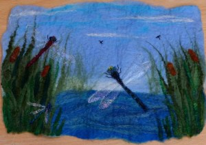 Felted picture 'Dragonflies'