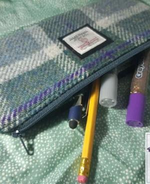 Harris Tweed pencil case: Blue grey check