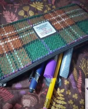 Harris Tweed pencil case: Autumn check